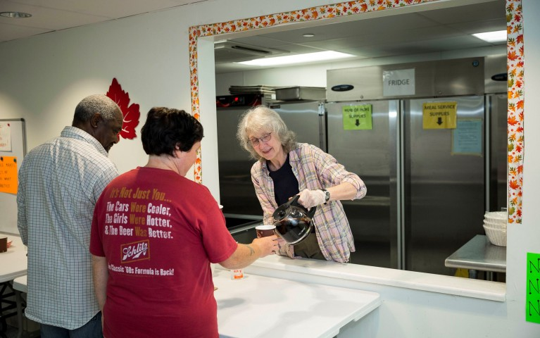A Project HOME volunteer at the Hub of Hope