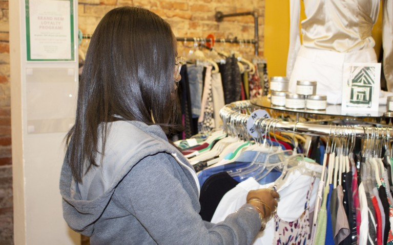 A customer shopping at Home Spun Boutique