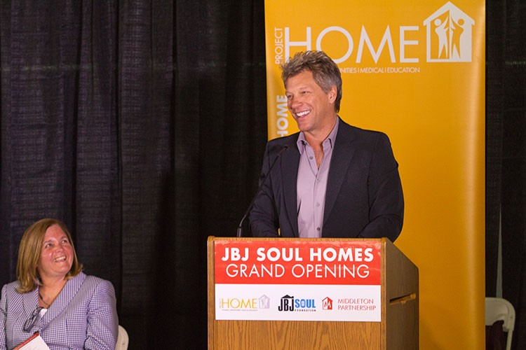 Jon Bon Jovi speaking at the grand opening of Project HOME's JBJ Soul Homes affordable, supportive residence.